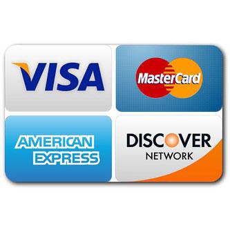 All major credit/debit cards.